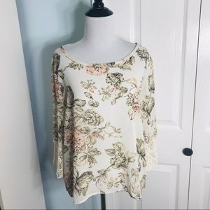 Poetry Floral Crochet Lace 3/4 Sleeve Top Large